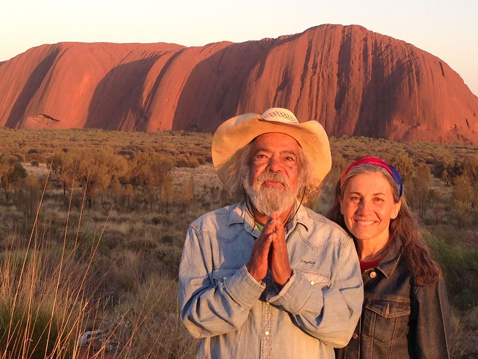 Barbara and Bob in front of Uluru.